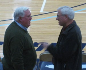 Presidents meet at halftime to discuss a friendly wager or was it lack of parking?