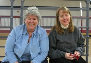 Pattie MacDonnell and Joanne Derr waiting for the action to start.