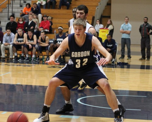Hans Miersma, shown here against Curry, got a late hoop to send Gordon past Salve Regina