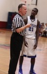 Jovan Bovell chats with referee
