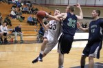 Park Thomas (12 points) gets fouled by Bennett Knowlton (12 points)