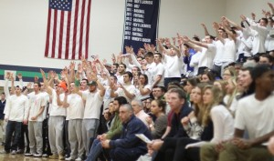 A small part of a very active Endicott student section