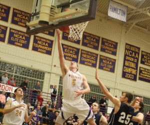 Daniel Wohl ends the first half with a layup