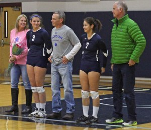 Seniors Jessica Burdick and Krystal Vander Ark with family on Senior Day