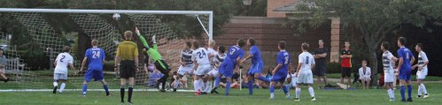 Charlie Mader's header goes past GC goalie Josh Spoonhour to tie the game