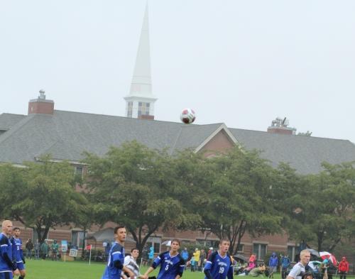 Soccer ball on the roof of a Gordon dorm