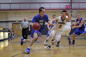 Drew Coveney heads for the hoop
